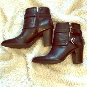 Marc Fisher black ankle boots w/straps & buckles.